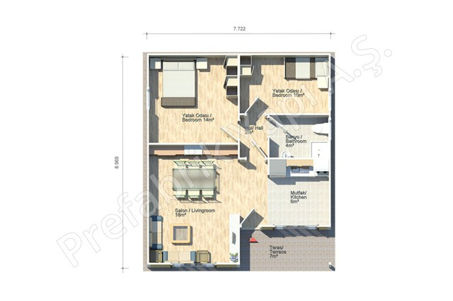 Bergama 69 m2 Plan