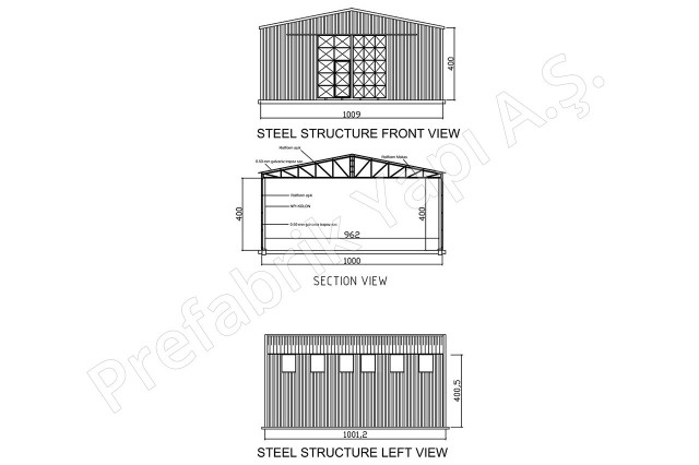 Steel Building 100 m2  Plan