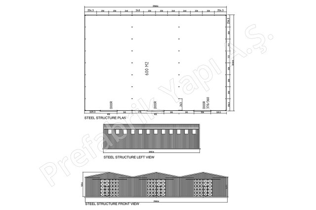 Steel Building 600 m2 Plan