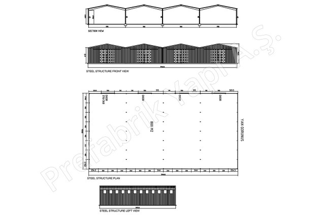 Steel Building 800 m2 Plan