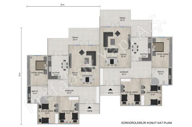 Single Storey Twin Houses Plan