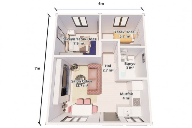 Package House 42 m² Plan