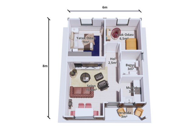 Package House 48 m² Plan